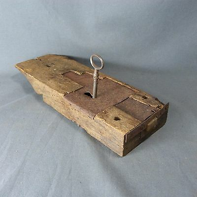 French Antique Rustic Wooden Lock w/ Key from Heavy Wood Door Working Condition