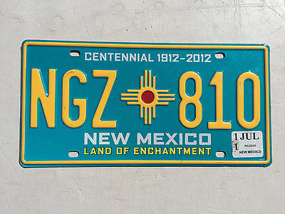 """New Mexico Centennial 100 Yrs Statehood License Plate """" Ngz 810 """" Nm 1912  2012"""