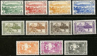 NEW HEBRIDES BR Sc#82-92 1957 Scenic Definitives Complete Set OG Mint NH