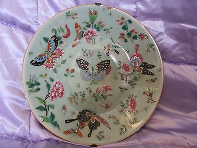 """Antique Chinese Celadon Famille Rose Plate. 10.25"""". Late 19th Century?"""