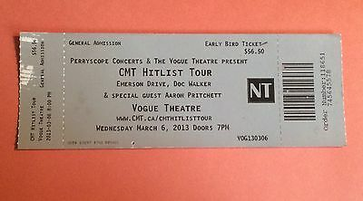 CMT HITLIST TOUR Vogue Theatre VAN BC CANADA Mar 6th 2013 Concert Ticket Stub