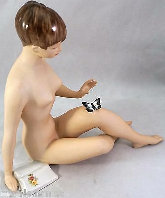 Royal Dux Figurine Nude Girl Sitting with Butterfly & Book Hand Painted Chernoch
