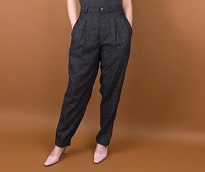 Vintage 80s checkered high waist plaid pleated tapered black trouser pants