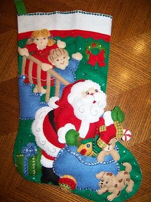Finished BUCILLA felt stocking NO PEEKING completed NEW