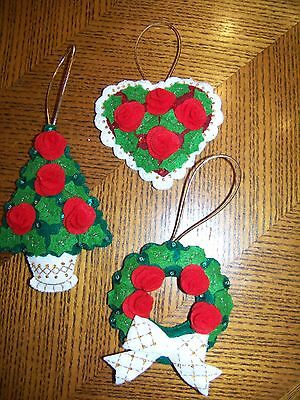 Finished BUCILLA felt ornaments ROSE TREE completed NEW