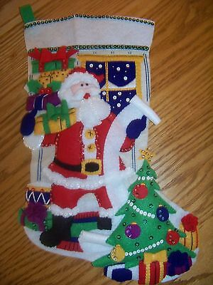 Finished FELTWORKS felt stocking SANTA CHECKING HIS LIST completed NEW