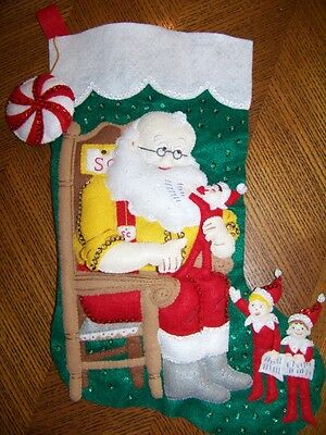 Finished BUCILLA felt stocking SANTA & SCOUT ELF completed NEW elf on the shelf