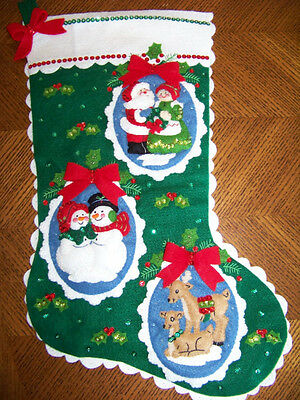 Finished BUCILLA felt stocking ROMANTIC COUPLES completed NEW