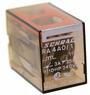 SCHRACK Cube Relay, # RA 4 A 0/115, 14 Pin, 4PDT New