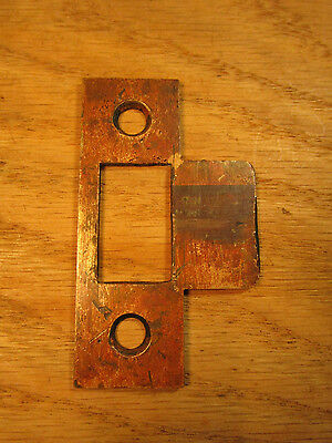 Antique Door Mortise Lock BRASS STRIKE PLATE Keeper Old Jamb Part Catch Vintage