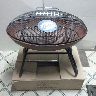 Miller Lite Beer Football Shaped Grill Fire Pit Tailgating Camping