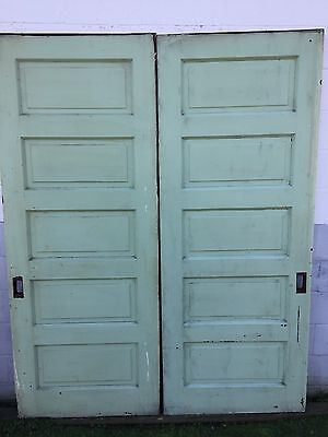 "PAIR OLD PAINT 5 RAISED PANEL POCKET SLIDING ROLLER BARN DOORS 32"" x 82"" PICKUP"