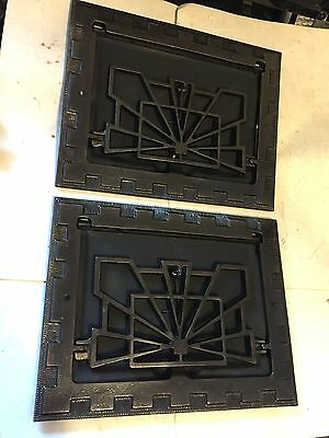 2 Refurbish Arts Craft Deco Victorian Cast Iron Wall Heating Grate Vent Register