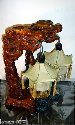 Vintage Set 2 x Chinese Asian Wood Dragon Lamps Lanterns Shades