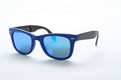 New Ray Ban RB 4105 6020/17 Matte Blue Frame Grey Blue Mirror Lens Sunglasses 50