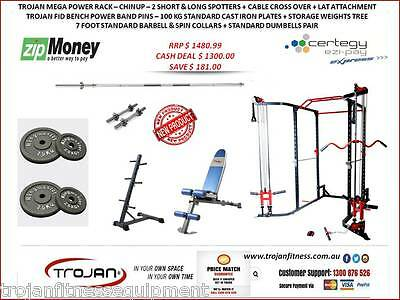 Power Cage Rack Cable Cross + Lat Attachment + ChinUp FID Bench + 100 KG Weights