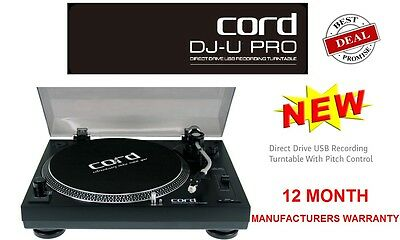 CORD DIRECT DRIVE TURNTABLE w/ PITCH CONTROL + USB RECORD PLAYER DJ-U - NEW