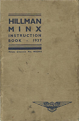 HILLMAN MINX original 1937 owner's handbook manual Deluxe & Safety model