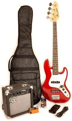SX Ursa 2 JR RN PK CAR Red Short Scale Bass Guitar Package w/Amp, Video and Stra
