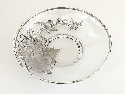 1930's 1940's clear glass & silver overlay console bowl