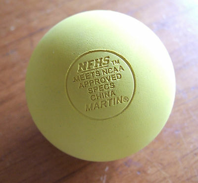 Martin Lacrosse Ball, Meets NCAA & NFHS Specs., Yellow, New - never used