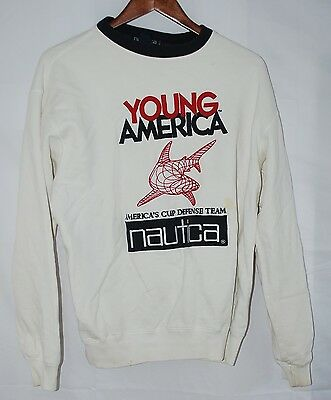 vintage 90s Nautica Young America's Cup M white sweatshirt embroidered