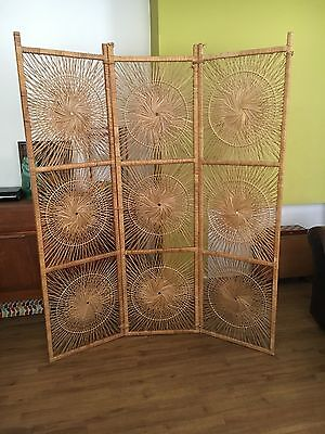 Vintage Retro Mid Century 3 Cane bamboo Rattan Woven Screen Kitsch 60's 70's