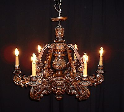 Vintage large French carved Elm wood chandelier with a very full look Amazing