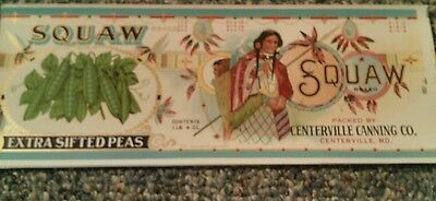 SQUAW w/ Papoose CAN LABEL 1920's  Maryland Wholesale Price! Indian Graphics