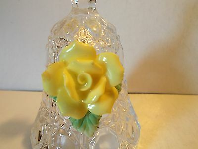 Vintage Cut Glass/Crystal? Bell with Raised Yellow Rose