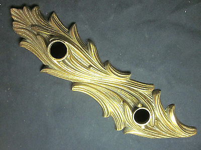 "Antique Vintage 14"" Brass French Hollywood Regency Feathered Door Knob Backplate"