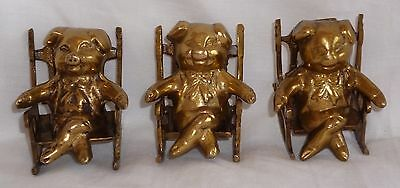 "Vintage Brass  "" Three Little Pigs In Rocking Chairs """