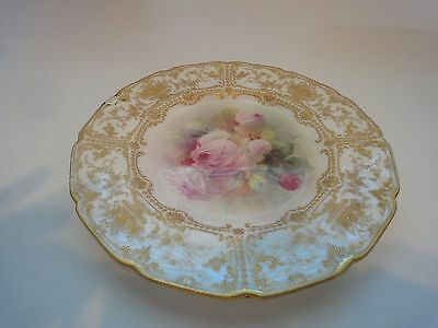 Vintage Royal Doulton Roses Plate, Artist Signed, P. Curnock
