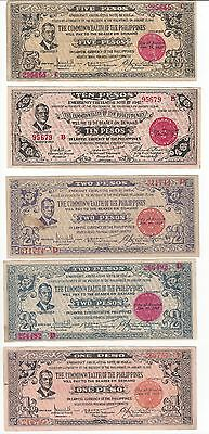 Philippine Guerilla Currency Lot  Negros Occidental Group Of 5 Pcs  F-Vf