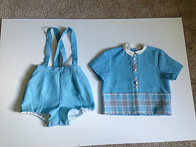 Vintage Boys size 3-4 Light Blue Short Set Overall & Shirt Dress Outfit