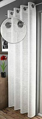Glittery Sparkles Adele Shimmery Glam White Voile Eyelet Ring Top Curtain Panel