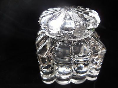 Antique Heavy Pressed Glass Inkwell W/ Lid