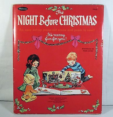 Unpunched 1968 Whitman The Night Before Christmas Press Out Scene Book