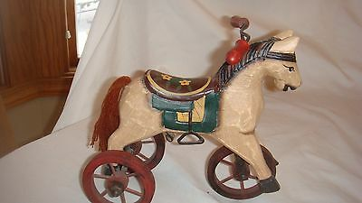 ANTIQUE Replica Toy Wood HORSE TRICYCLE Figurine Home Decor Decoration