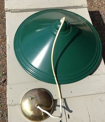 Vintage Industrial GREEN Porcelian Light Hanging Metal Farm Barn Fixture