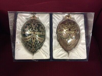 "Set of 2 Hand Decorated Large 6"" Glass Christmas Ornaments Egg Shaped - NEW"