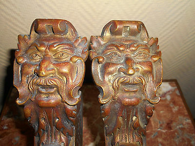 Exceptional Pair Antique Bronze Patina Curtain Rod Holder, With Grotesqesque