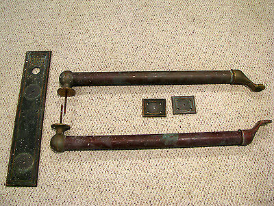 Antique BRASS DOUBLE PUSH BAR & PLATES - ENTRY DOOR