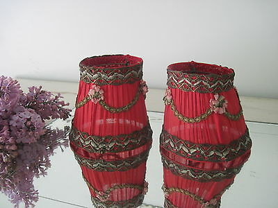 Pair Antique French Silk Boudoir Lamp Sconce Shades Metallic Trim, Flowers