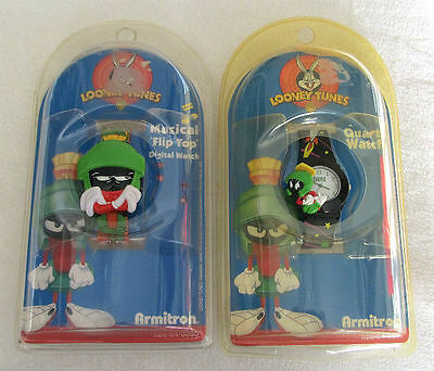 Lot of 2 1998 Looney Tunes MARVIN the MARTIAN Warner Bros ARMITRON Watches - NEW