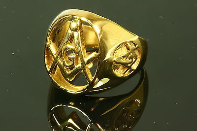 Yellow Gold Plated Stainless Steel Masonic Ring Various Sizes