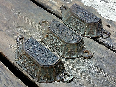 "3 VTG Old Fancy Scroll Vine Cast Iron Bin Pull Handle Rustic Apothecary 3""CC"