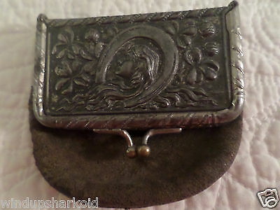 Antique Coin Purse metal & leather with lady on it