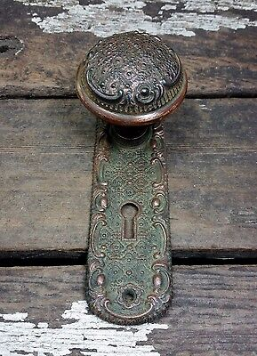 VTG Old Rustic FANCY 1800s Cast Door Knob Keyhole Intricate ORNATE Backplate