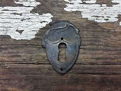 ONE Vtg RARE Antique FANCY Peacock Brass Keyhole Cover Backplate Door Clock